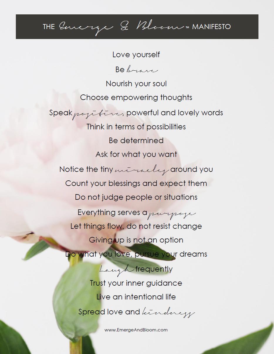 The Emerge and Bloom Manifesto | www.EmergeAndBloom.com